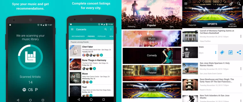 Screenshots from BandsInTown and Eventseeker apps showing how your music library can be scanned to find artists you like with concerts nearby and local events for your next locums assignment.